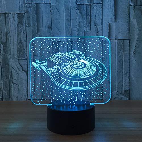 Lampada 3d, veicoli spaziali 7 colori led usb o 3aa batteria acrilica luce notturna ambiente interno per bambini giocattoli e regali
