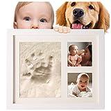 Kit de arcilla para la huella del bebé y marco de fotos color blanco