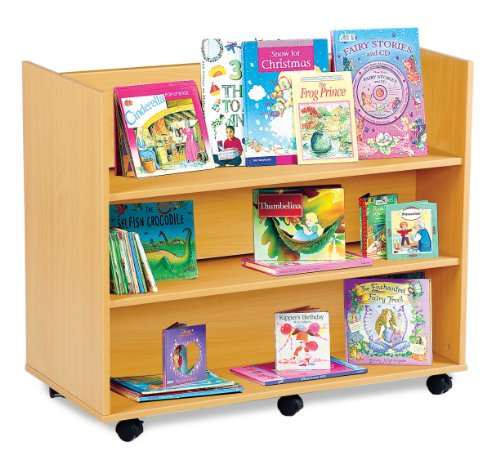 Buy Monarch Mobile School Library Book Storage Unit 3 Double Sided Shelves Beech MEQ3BS Discount