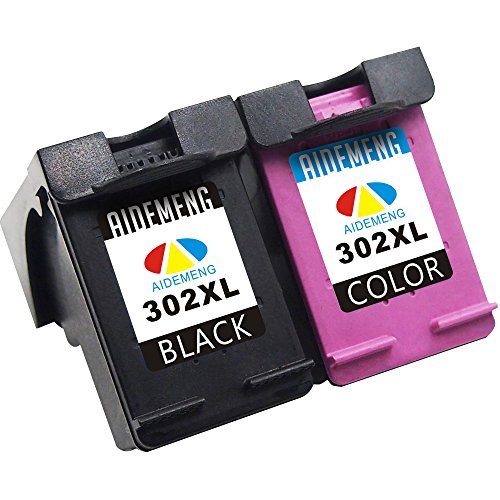 AideMeng Remanufacturado HP 302 XL Cartuchos de Tinta, Compatible con HP OfficeJet 4650 3833 4658 3831 4654 3830, HP Envy 4525 4528 4524 4527 4520, HP DeskJet 1110 3630 3632 (1 Negro 1 Tricolor)