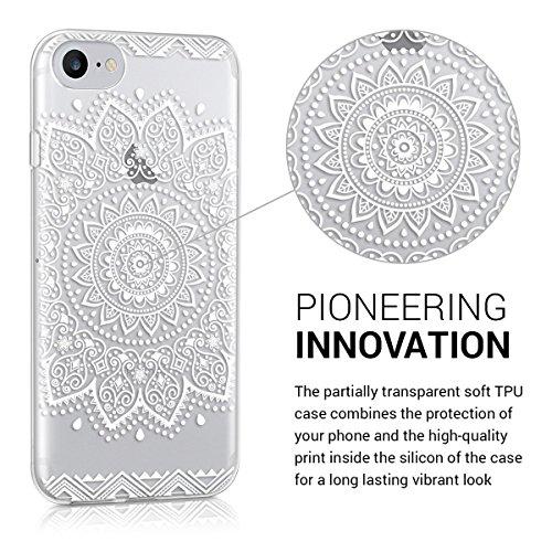Cover iphone 8 PLUS, Lincivius®, Cover Iphone 8 PLUS 5.5 Custodia Di Gel In Silicone TPU Case Coppertura Prottetiva Logo : Grigio mandala - Fiori