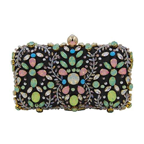 Frauen-Diamant-Handgefertigte Perlen Abendtasche Gem Handtasche Black