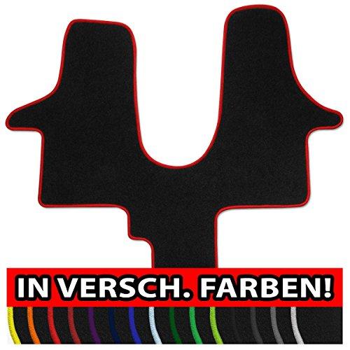 Preisvergleich Produktbild (Q100, Rand wählbar) Passgenaue Fußmatten aus NF-Velours mit Randfarbe in Rot (103) für Volkswagen VW T5 + T6 California 1tlg. Bj. 2003-heute