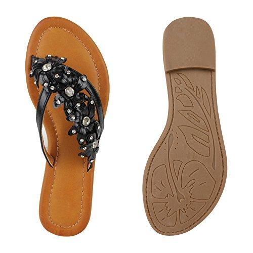 Pretas Strass Sapatos Praia Pintar Trenner Flores Senhoras Sandálias Apartamentos De Toe SBawvxHgq