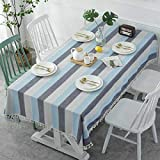 fdsa Thick Dyed Linen Blue-Gray Striped Fringed Tablecloth Christmas Coffee Table Decorative Cloth in Hotel Blu