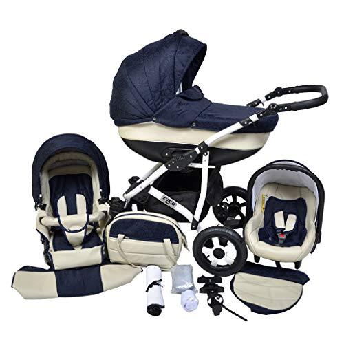 *Cleo Kombi Kinderwagen 3 in 1 blau/creme/ weiß mit Kunstlederelementen*