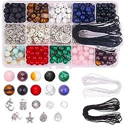Colle 8 mm Pierre Perles Kit Ensemble 418pcs Bricolage de Bijoux en Perles Bracelet Ensemble Chakra Lave et Joints Perle avec Bracelet de Cristal String et Boîte Huile Essentielle