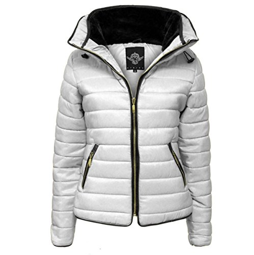 157de497454 Ladies Quilted Padded Puffer Bubble Fur Collar Warm Thick Womens Jacket Coat  - Available in PLUS SIZES (Small to XXL)
