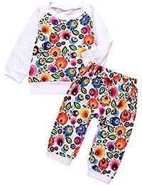 K-youth® Ropa bebe niña otoño invierno Infantil recien nacido Bebé Niña Impresión de flores Tapas manga larga Camisetas blusas + Pantalones largos Conjuntos de ropa