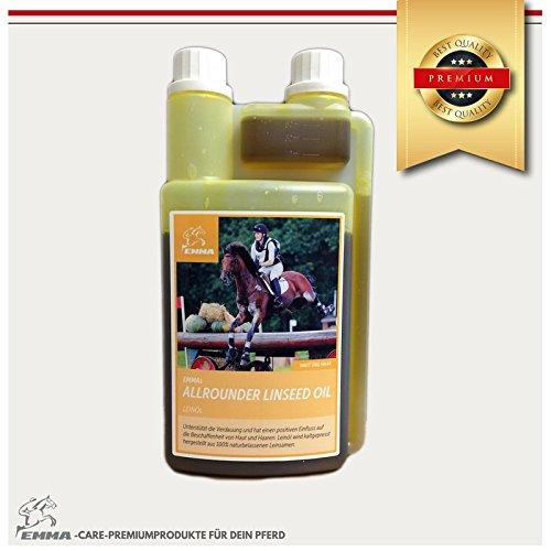 Leinöl fürs Pferd- Ergänzungsfutter für glänzendes Fell & gute Verdauung & Fellwechsel, 1 Liter