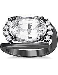 Silvernshine 4Ct Oval & Round Cut Sim Clear Diamonds 18K Black Gold Plated Engagement Ring