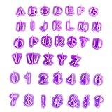 Kompassswc 40XSTÜCK Alphabet Keks Ausstecher Kinder Party DIY Fondant Marzipan Cutter Plätzchenformen Ausstechformen 26-Buchstaben,9-Zahlen,5-Sonderzeichen Kuchen Tortendekor Formen