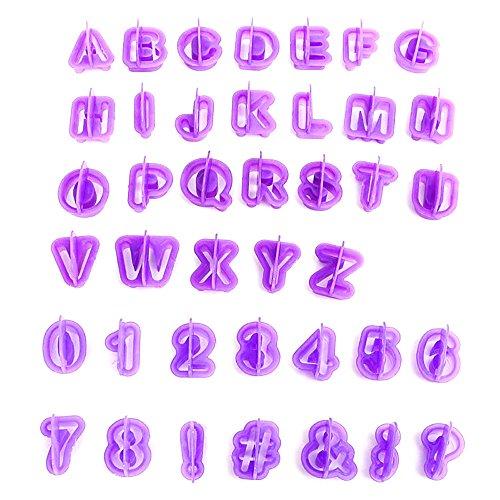 Lot de 40 x Alphabet Emporte-pièce à biscuits enfants PARTY DIY massepain Fondant Cutter Biscuits Formes Emporte-Pièces De 26 Lettres, de 9 chiffres, 5 caractères spéciaux gâteau cake Décoration Motif formes