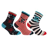 Childrens/Boys Cotton Rich Skull/Dinosaur Design Socks (Pack Of 3) (9-12 UK Child) (Skull and Crossbones)