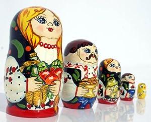 Matrioska babuska muñeca rusa de estilo familiar, hecha a mano, madre, padre, hija, hijo y pollo, 5 unidades / 10 cm de C2A Enterprise