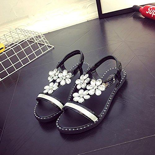 DM&Y 2017 Primavera ed estate scarpe casual diamante piano colore solido. sandali da donna testa di pesce Black