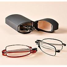 Graceful alta calidad de color rojo super slim Mini Flip Top Gafas Case & Elegante Anti Fatiga, plegable gafas de lectura + 2,00Elder Eye lector de bolsillo UV400