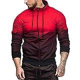 Yvelands Herren Sweatshirt Kapuzen Herbst Winter Langarm Spleißen Falten Kapuze Top Bluse Trainingsanzüge(EU-46/M,Rot)