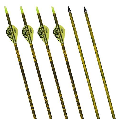 """Arcos y flechas 31"""" inches Bangta, tiro con arco, hecho fibra de vidrio para caza/selección/práctica, Tres Vanes Plásticos, 6 pcs, Color Amarillo"""