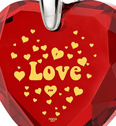 Collier I Love You en Argent Fin - Pendentif Zircon Cubique en Forme de Coeur avec inscription style années 60 en Or 24ct, 45cm - Bijoux Nano Rouge
