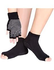 Eggsnow Set de chaussettes sans orteils et de gants respirant et antidérapants avec petits pois en silicone blanc