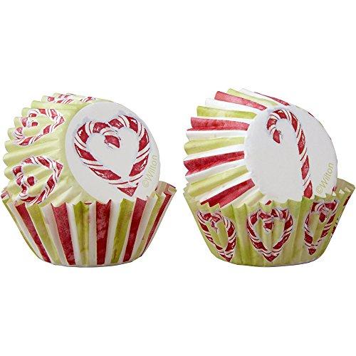 Wilton-Candy Cane Mini Cupcake Liners 100-Count, Multicolore, confezione da