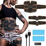 Echoice Nouveau Style Stimulateur Muscle Rechargeable USB Abdomen Cuisse Bras EMS Electrostimulateur Musculaire et 12 Coussinets de Gel