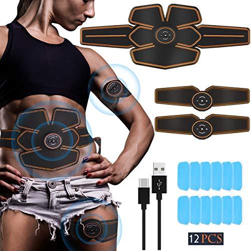Echoice Elettrostimolatore Muscolare EMS Stimolatore Muscolare USB Ricaricabile Abs Trainer per Addome Braccio Gambe Vita, Uomo o Donna