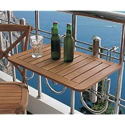 Spetebo - Tavolo per il balcone, in legno teak, 60 x 40 cm