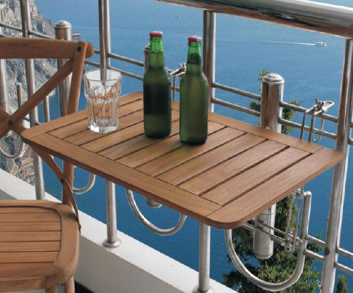 Spetebo Haute Qualité Table de Balcon en Bois de Teck - 60 x 40 cm