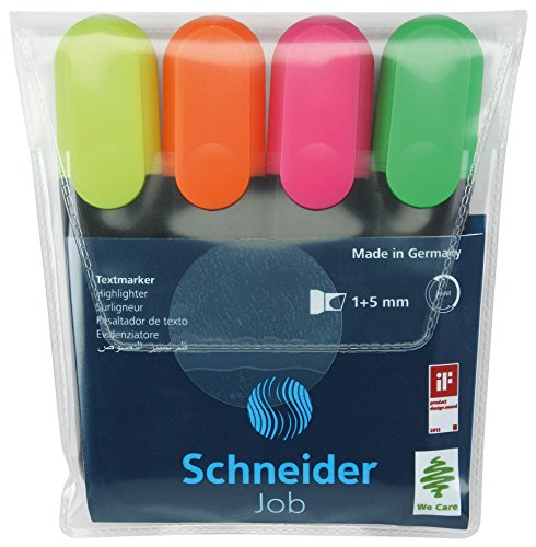 Schneider Job 150 Textmarker (nachfüllbar und lichtbeständig) 4er Etui gelb, orange, rosa, grün