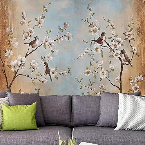 3D tapete Wandbilder Kundenspezifische Blumen und Vögel, die Wohnzimmer FernsehSofa-Hintergrund-Tapeten-Ausgangsdeko malen 300x210cm
