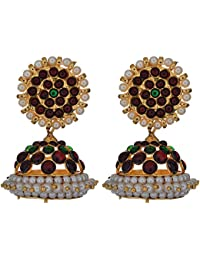 Preethi Gold Plated Gold Metal Jhumki Earrings For Women (Preethi_12)