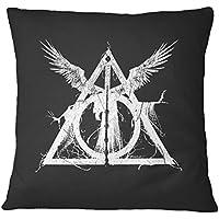 LaMAGLIERIA Cojín Decorativo Harry Potter Sign Artistic White Print - Almohada de algodón Decorative Pillow, 40cmx40cm, Negro