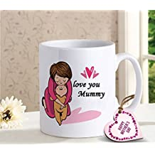 Tied Ribbons Ceramic Mothers Day Special Gifts Printed Coffee Mug with Mothers Day Special Wooden Tag, 320 ml, White