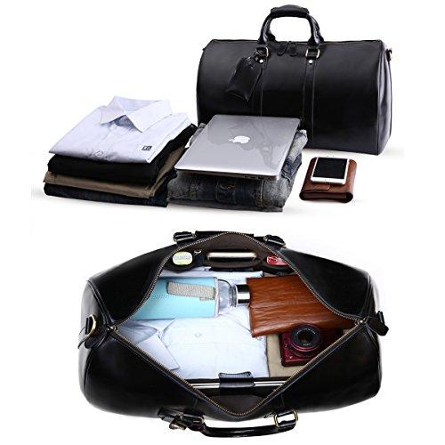 Leathario Herren Ledertasche Reisetasche Sporttasche Handgepäck Reisegepäck Umhängteasche Handtasche Schwarz (Small)