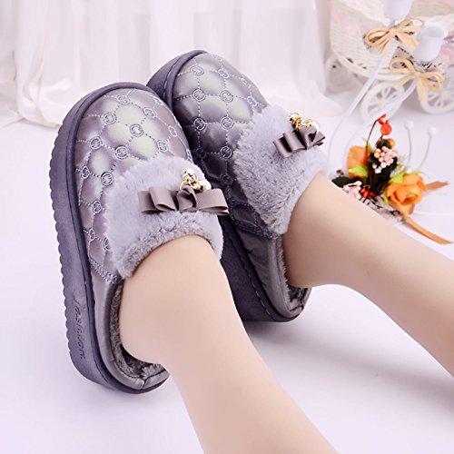 LaxBa Femmes Hommes Chaussures Slipper antiglisse intérieur Gray