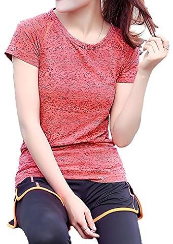 ALAIX femme Été Séchage rapide Outdoors Sports Yoga Fitness wear transpirable perspira T-Shirt orange-L