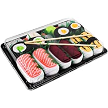5 paia di CALZINI SUSHI: Salmone Tonno Certificato OEKO-TEX Prodotto in Europa Idea REGALO Divertente Tonno Cetriolo Oshinko Maki Calze fantasia di COTONE|per Donna e Uomo Sushi Socks Box