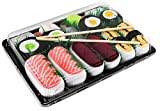 Sushi Socks Box - 5 paia di CALZINI SUSHI: Salmone Tamago Tonno Cetriolo Oshinko Maki, Idea REGALO Divertente, Calze fantasia di COTONE|Dimensioni: EU 41-46, Certificato OEKO-TEX