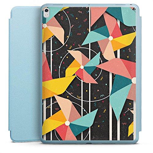 DeinDesign Apple iPad Pro 10.5 2017 Smart Case hellblau Hülle Tasche mit Ständer Smart Cover Windrad Pattern Muster - Windrad-tasche