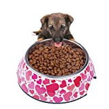SUPER DESIGN Classic Removable Stainless Steel Pet Food and Water Bowl in Round Melamine Stand with Non-Skid Rubber Bottom Easy to Clean Dishwasher Safe for Dogs and Cats M Love Pattern