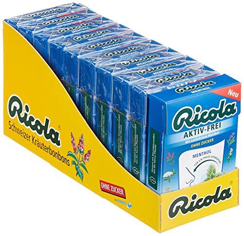 Ricola Aktiv-Frei Menthol, Schweizer Hustenbonbon, 10 x 50g Böxlis, ohne Zucker, für ein freies Atemgefühl