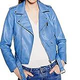 Giacca da Donna in Festivo da Giacca Moda Pelle Abbigliamento Donna con Cerniera Laterale Rivetti Giacca da Moto in Pelle Stile Motociclista (Color : Blau, Size : L)