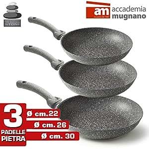 Accademia Mugnano 1827290 Set da 3 Padelle in Pietra Antiaderenti Mineral Heart Stone, 22-26-30 cm