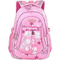 2fd83b8ea8ef9 Freitop Schulrucksack mit Blumen Muster ab 4 Jahre Pink Schulranzen Rucksack  Kindergartenrucksack Schultasche Groß Klein für