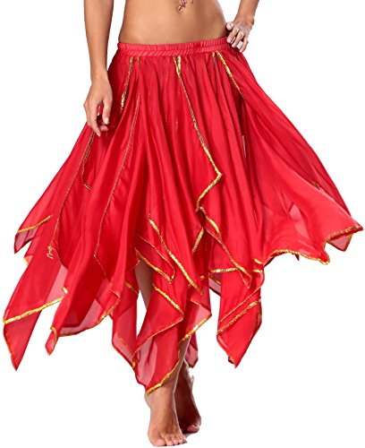 Bauchtanz Rock Rot Orientalische Kostüme Tanzkleid Damen (Tänzerin Tanzen Dance Belly Bh)