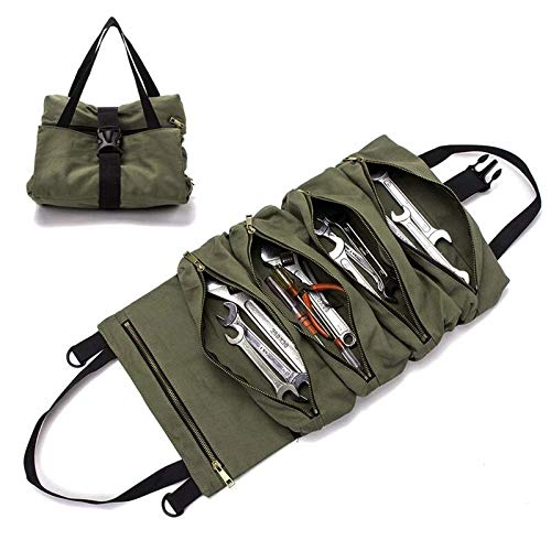 Pahal Zipper Large Wrench Roll Up Waxed Canvas Organizer Bucket Handy Tote Carrier Small Tool Bag
