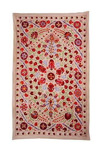 Original Suzani Antik Usbekische 100% Handgefertigt Stickerei Twin Tagesdecke Tagesdecke