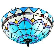 GAOLIQIN Luz de Techo Estilo Tiffany , 60W , Lámpara LED de Techo con vidrieras mediterráneas , Lámpara de Corredor , Lámpara empotrada en el Techo del ...